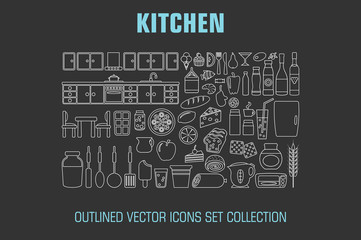Outline set cooking icons