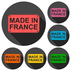 Made in France icons set with long shadow