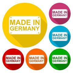 Made in Germany icons set with long shadow