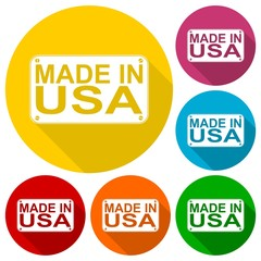 Made in USA icons set with long shadow