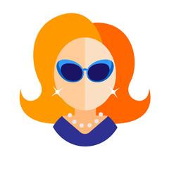 blonde woman flat icon avatar