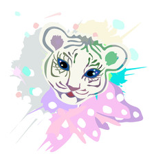 cute baby tiger portrait, illustration with splash watercolor textured background