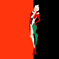 Abstract sketch of models in trouser suits, white, black, red, fashion, art.