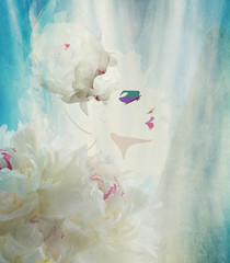 Abstract portrait of a girl in a floral hat of white peonies and a dress, makeup