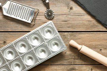 Kitchen utensils for homemade pasta ravioli