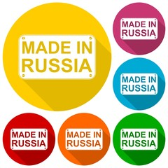 Made in Russia icons set with long shadow