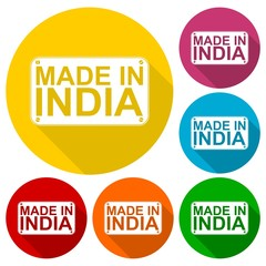 Made in India icons set with long shadow
