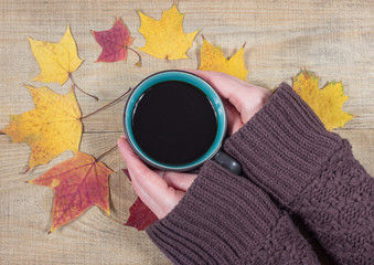 Woman holding a cup of coffee on the autumn background.