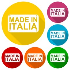Made in Italia icons set with long shadow