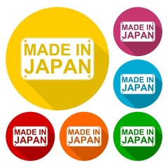 Made in Japan icons set with long shadow