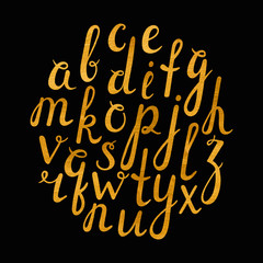 Artistic handdrawn golden font. All the letters are painted in gold texture. Italic, bold. Vector illustration.