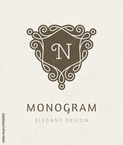 Elegant floral monogram logo design template with letter n retro elegant floral monogram logo design template with letter n retro style lineart vector illustration for wajeb Images