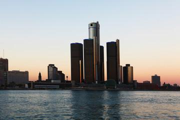 The Detroit Skyline at dusk