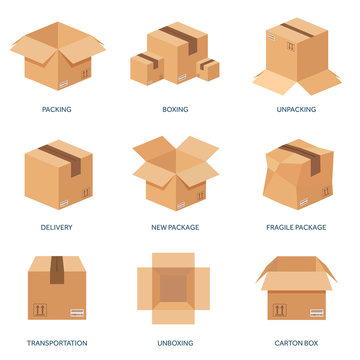 Vector illustration. Flat carton box. Transport, packaging, shipment. Post service and delivery
