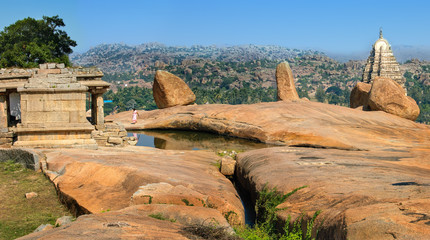 Fototapete - Ruins of Hampi, near Hemakuta hill sunset point, Hampi, Karnataka, India.