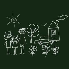 Vector image. Happy family