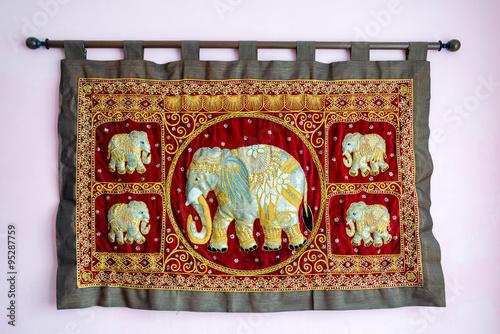 Five india elephants on silk gobelin for luck
