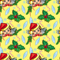 Holiday seamless pattern with New Year decorations and angels