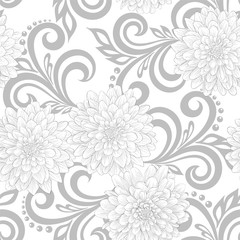black and white  seamless pattern with dahlia flowers and abstract floral swirls