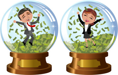 Successful businesswoman and businessman exulting and jumping under money rain inside snowglobe isolated