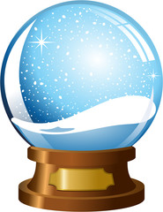 empty snowglobe with snowfall isolated