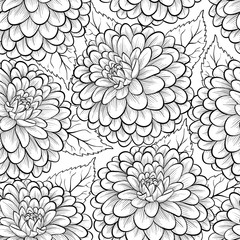 Beautiful monochrome, black and white seamless background with flowers dahlia.