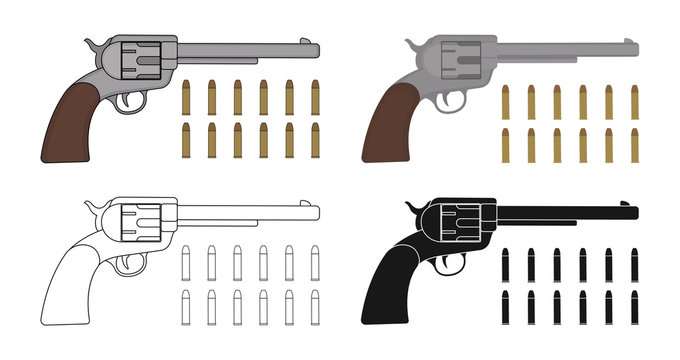 Set of six-gun revolvers with bullets. Game resources