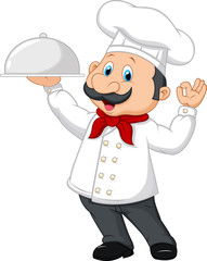 Cartoon chef holding a silver platter