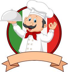 Cartoon funny Italian Chef cartoon holding platter with ok sign