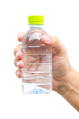 Man hand with bottle of water isolated on white.
