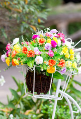Close up of artificial flower decoration.