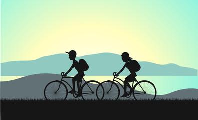cycle tourism summer sunset illustration