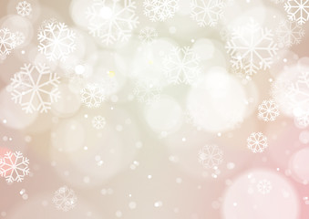 Abstract Bokeh Light with Snowflakes Vintage Background