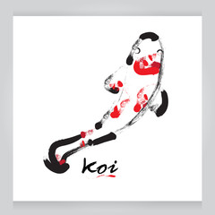 vector koi black on white background