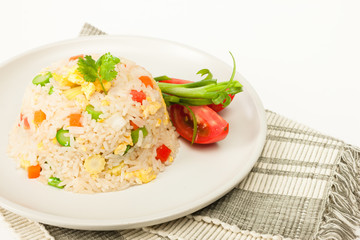 Vegetarian fried rice with tomatoes and green onion