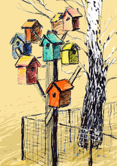 Birdhouses and Tree Sketch
