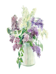 Watercolor lilacs in a vase
