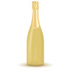 Golden bottle of champagne.
