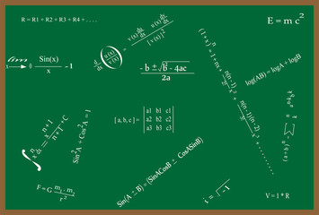 Maths Formulas on Green Board at School