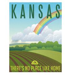 Retro illustrated travel poster for state of Kansas, United States