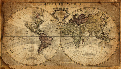 Fototapete - vintage map of the world