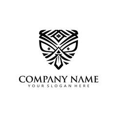 simple elegant Maori mask icon logo vector