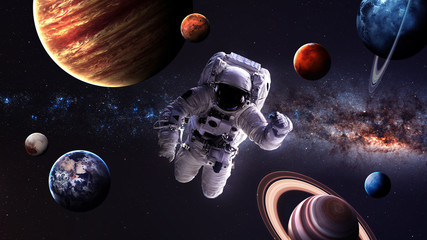 Wall Mural - Astronaut in outer space. Elements of this image furnished by NASA