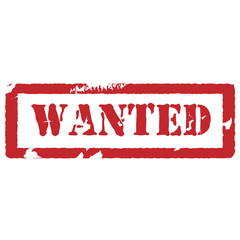 Rubber stamp with text wanted