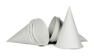Cone shape disposable paper cups on white background