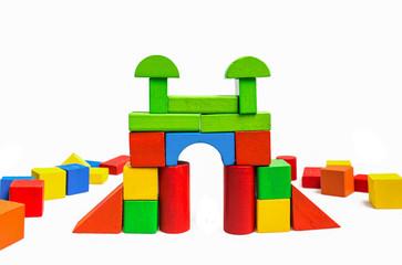 Toy blocks, multicolor wooden building