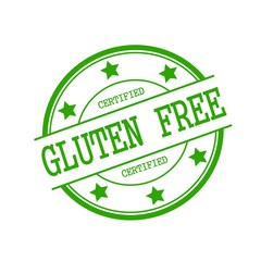 Certified Gluten Free green stamp text on green circle on a white background and star