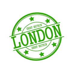 London - Great Britain stamp text on green circle on a white background and star