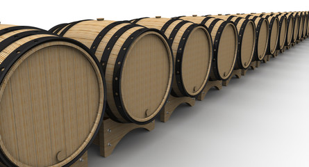 Oak barrels in a row on a white surface. The three-dimensional illustration