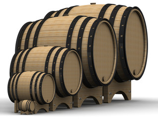Wooden barrels of different sizes. Isolated on white surface. The three-dimensional illustration
